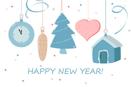 new year card with Christmas toys and confetti on a white background. vector flat illustration.