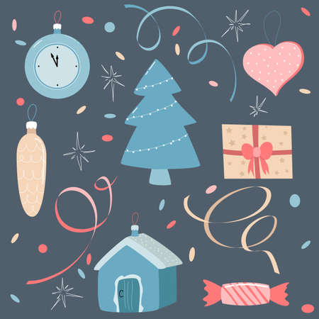 set of Christmas icons on a dark background. vector illustration. new year decoration.