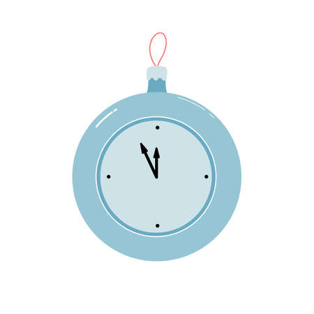 Christmas ball with a clock isolated on a white background. new year's symbol. vector flat illustration. Illustration