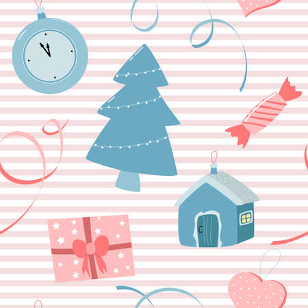 seamless pattern with Christmas decorations on pink striped background. vector color illustration. Illustration