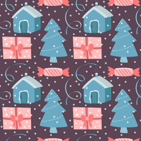 seamless new year pattern, vector illustration. Christmas tree, gift, confetti, streamers and snow as a bright background, festive backdrop.