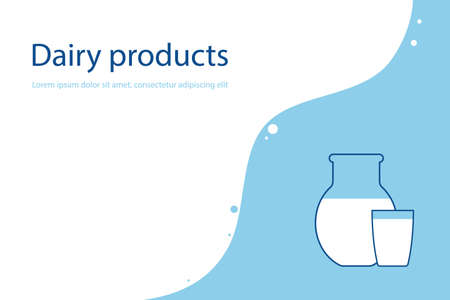 Dairy products, a glass and a jug with a white drink. milk, kefir, yogurt. vector illustration. Ilustrace