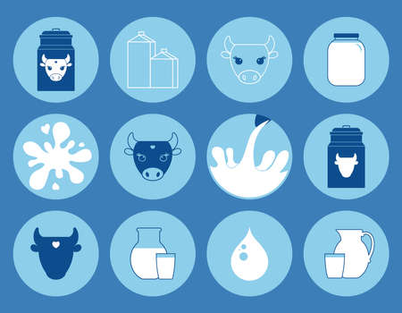 Dairy products, collection of vector icons. cow's milk. vector illustration.