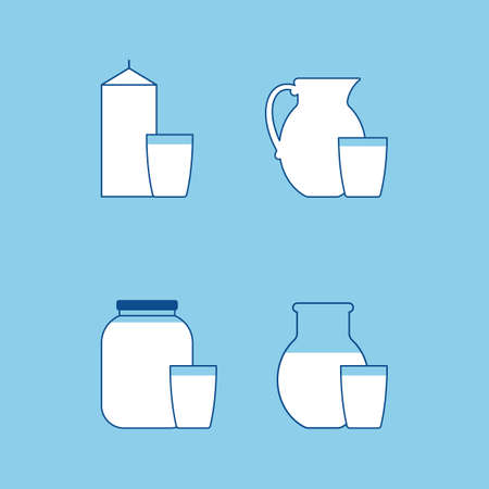 Dairy products, a collection of linear vector icons. a glass and a pitcher of white drink. vector illustration. Illustration