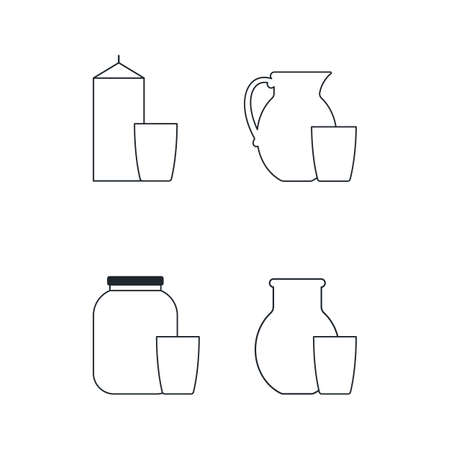 Dairy products, a collection of linear vector icons. glass and pitcher. vector illustration.