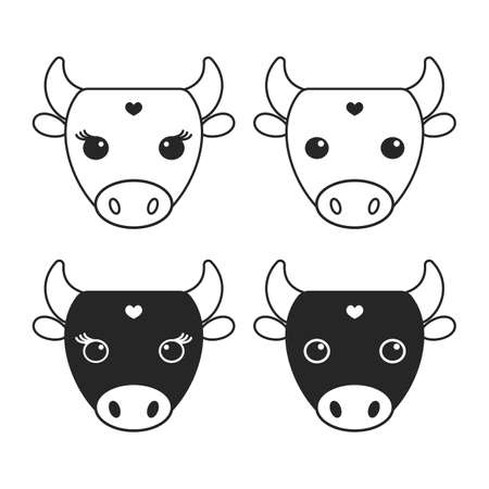black icon on a white background. vector illustration. head of a bull, a cow. cattle, dairy production.