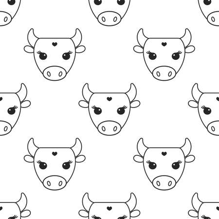 cow, seamless pattern with black icon on white background. vector illustration. head of a bull, a cow. cattle, dairy production.