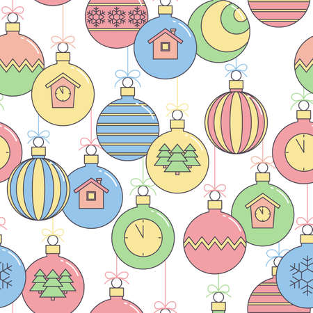 new year seamless pattern, festive background with Christmas balls. vector illustration.