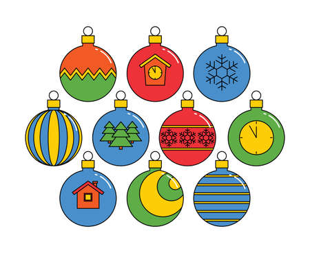collection of Christmas balls, linear colored icons isolated on a white background. vector illustration.