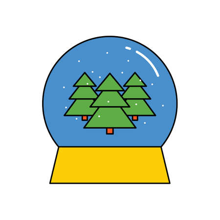 Christmas glass ball, winter souvenir, gift. vector illustration. colored flat icon on a white background.