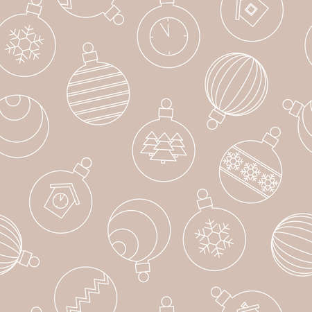 light seamless pattern with Christmas balls, festive backdrop with white linear icons on a beige background. vector illustration. Ilustrace