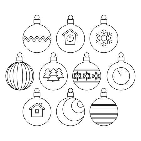 collection of Christmas balls, linear black and white icons. vector illustration.