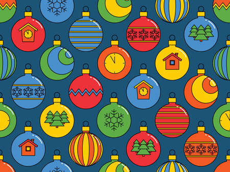seamless pattern with Christmas balls, bright festive background. vector illustration.