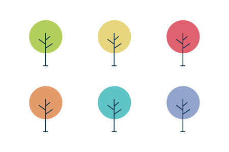 logo tree. collection of icons with a round crown. different season. vector illustration. natural element. Ilustrace