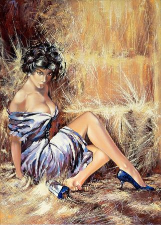 oil paintings: The girl sitting on a floor Stock Photo