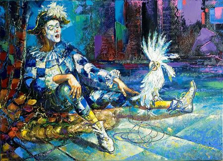 circus artist: The harlequin and a white parrot