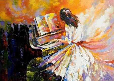 Das Mädchen auf dem Klavier spielen Standard-Bild