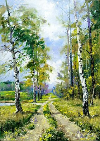 painting nature: Road on edge of a wood Stock Photo