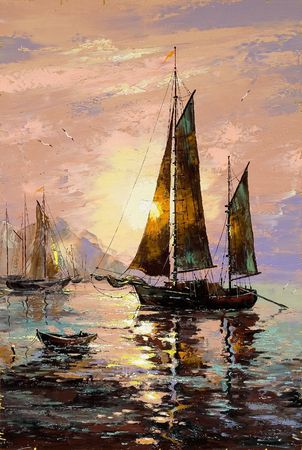 oil paintings: Landscape with sailing boats on the sea Stock Photo