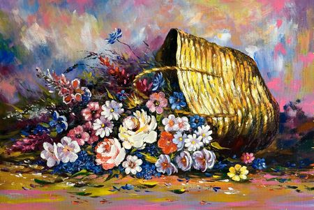 oil paintings: Years still-life with a basket and flowers Stock Photo