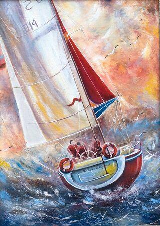 Three seamen on a sailing boat photo