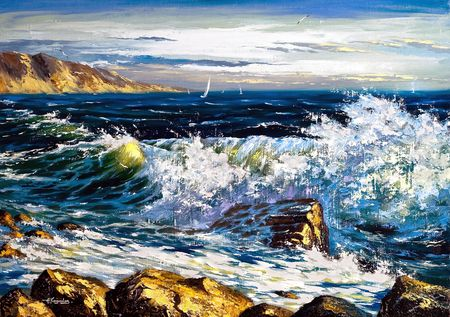 oil on canvas: Storm waves on seacoast and soaring the seagull