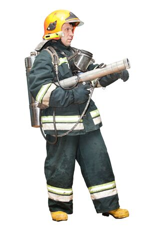 The fireman in regimentals on a white background photo