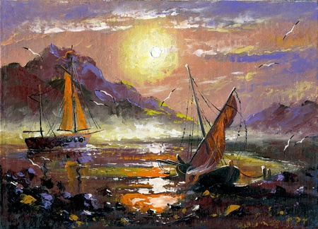 executed: The sea landscape executed by oil on a canvas Stock Photo