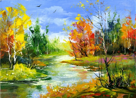 oil on canvas: The autumn landscape executed by oil on a canvas