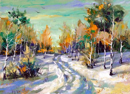 executed: The winter landscape executed by oil on a canvas