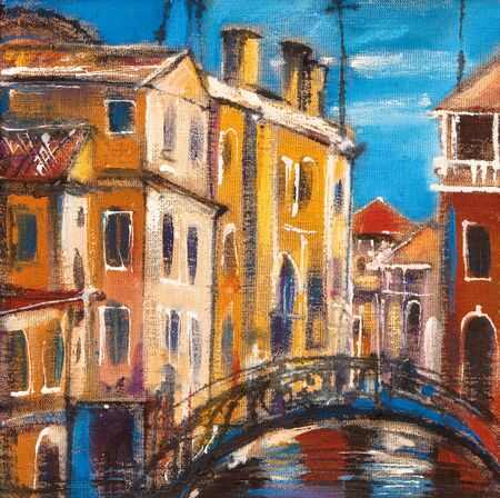 canvas painting: The bridge from ancient Venice