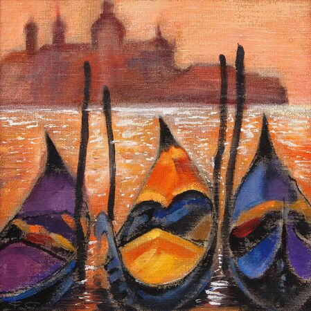 landscape painting: Gondolas in Venice