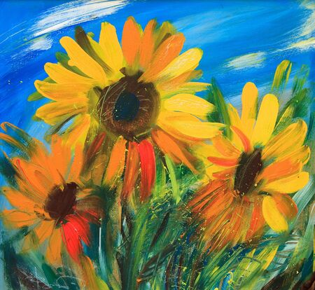 The sunflowers drawn by oil on canvas Stock Photo