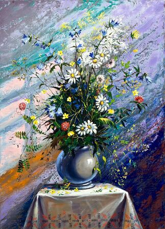 Bouquet of wild flowers in a vase photo
