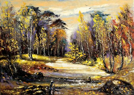 oil paintings: Road to autumn wood
