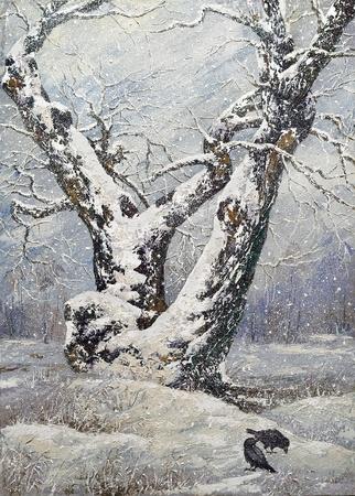 Lonely oak in winter wood photo