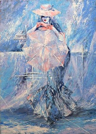The girl with an umbrella photo