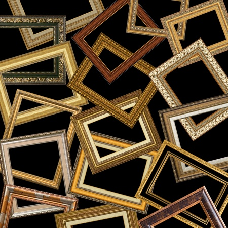 set of gold picture frames with a decorative pattern Stock Photo - 8732515