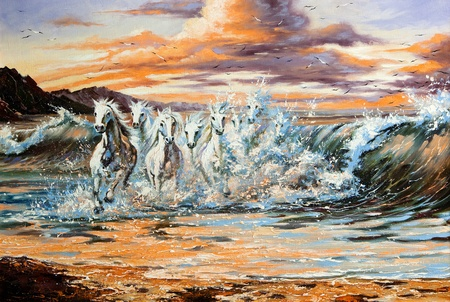 surreal: The horses running from waves Stock Photo