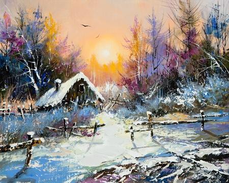 landscape painting: Rural winter landscape