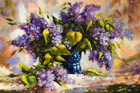 artists canvas:  Lilac bouquet in a vase