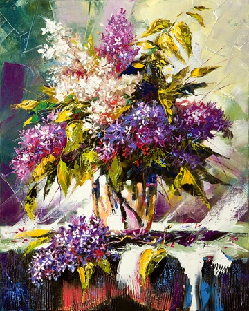digital paint:  Lilac bouquet in a vase