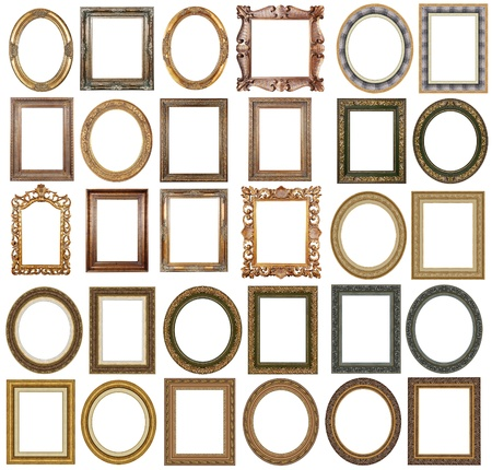 antique mirror: Picture gold frames with a decorative pattern