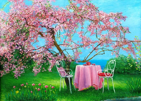 oil on canvas: Blossoming plum in a spring garden