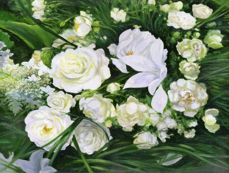 White roses on a green background photo