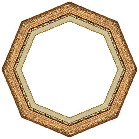 Octagonal picture gold frame with a decorative pattern photo