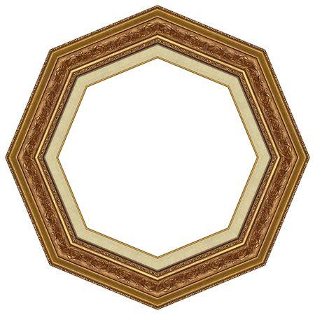 octogonal: Marco de octogonal imagen de oro con un patr�n decorativo Foto de archivo