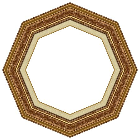 octagonal: Octagonal picture gold frame with a decorative pattern