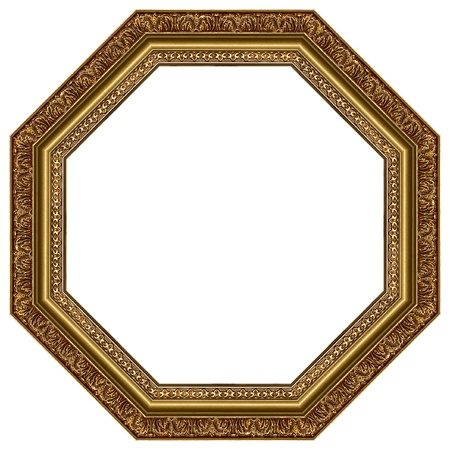 Octagonal picture gold frame with a decorative pattern Stock Photo - 8741102