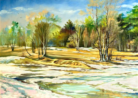 Spring landscape with trees and a snow photo